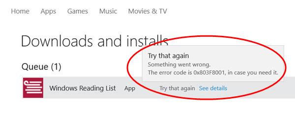 xbox error code 0x803f8001